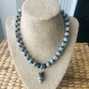 Handcrafted Gray Jasper/Lava Bead Necklace